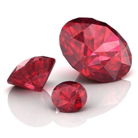 Ruby or Rodolite gemstone on white background Stock Photo - 17355420