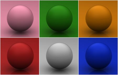 Collection of colorful glossy spheres photo