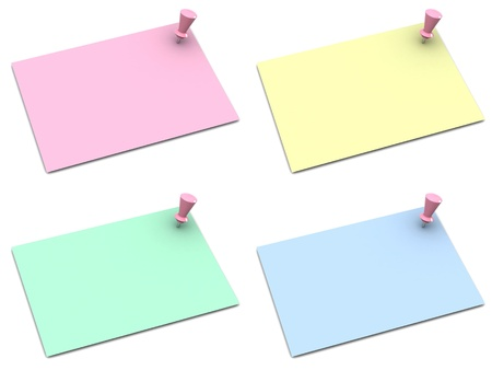 note papers with push pins on white background photo