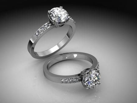 diamond jewellery: Jewellery ring on a white background. Stock Photo