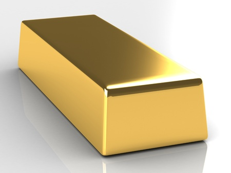 Gold Bar on white background photo