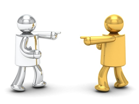 disputed: 3d illustration of man pointing finger and yelling at another person. 3d rendering of disputed and conflict people - human character. Stock Photo