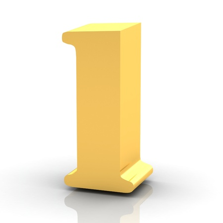 numbers icon: The Number 1 - Gold Stock Photo