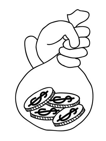 dispose: hand cartoon business concept