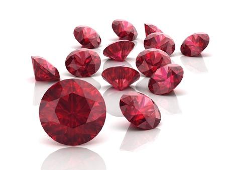 Ruby ou Rodolite pierres précieuses (image 3D haute résolution) Banque d'images