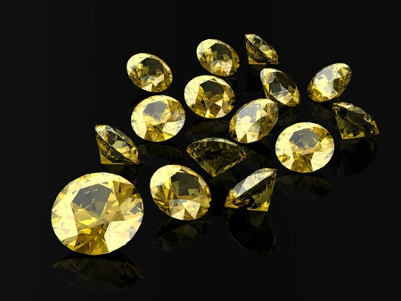 Beautiful yellow diamond (high resolution 3D image) Banco de Imagens
