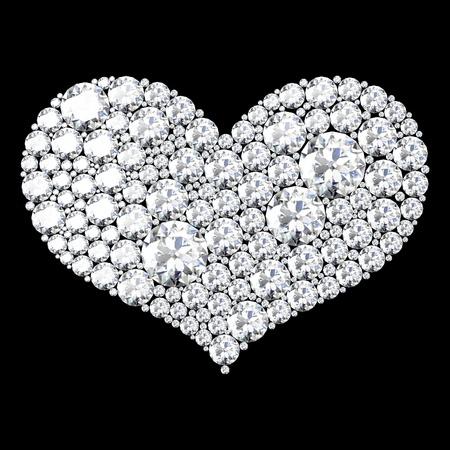 crystal heart: love sign on black background.