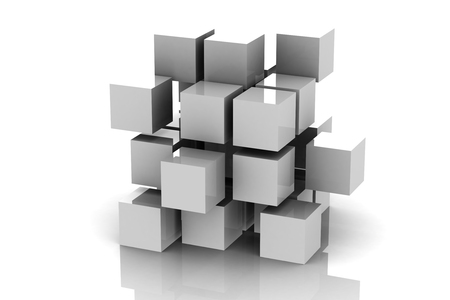 building blocks: Abstract geometric shapes from cubes (high resolution 3D image)