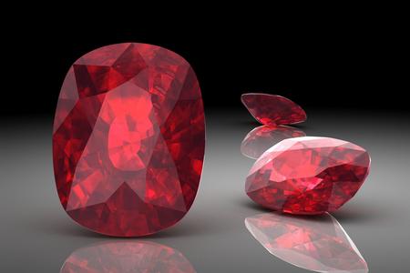 루비 또는 Rodolite 보석 (고해상도 3D 이미지) 스톡 콘텐츠