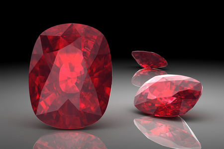 Ruby or Rodolite gemstone (high resolution 3D image) Banco de Imagens