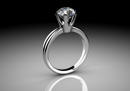 Diamonds ring on white gold body shape the most luxurious photo