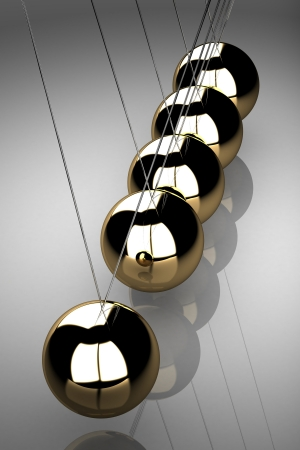 Balancing balls Newtons cradle (high resolution 3D image)