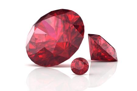 Ruby または Rodolite の宝石 (高解像度 3 D 画像)