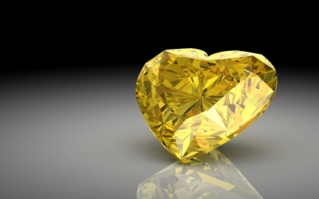 yellow sapphire on white background (high resolution 3D image) photo