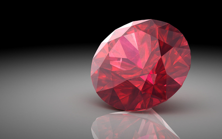 Ruby or Rodolite gemstone (high resolution 3D image) photo