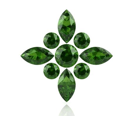 tsavorite: Peridot on white background (high resolution 3D image) Stock Photo