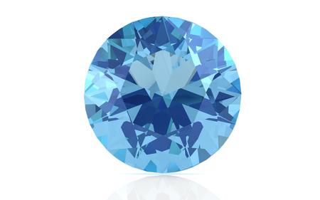 beryl: aquamarine on white background (high resolution 3D image) Stock Photo