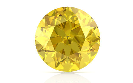 yellow stone: yellow sapphire on white background (high resolution 3D image) Stock Photo