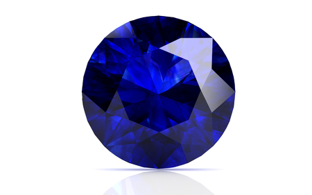 saffier: blauwe saffier op witte achtergrond (hoge resolutie 3D-beeld) Stockfoto