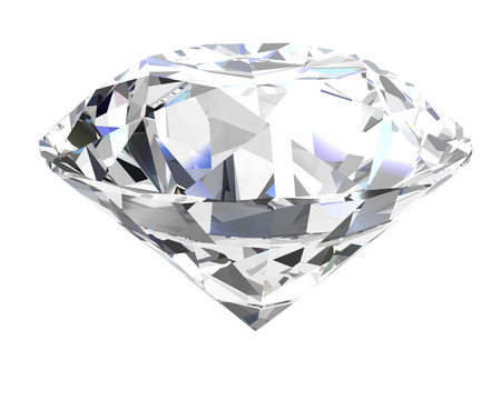 black diamond: diamond on white background (high resolution 3D image) Stock Photo