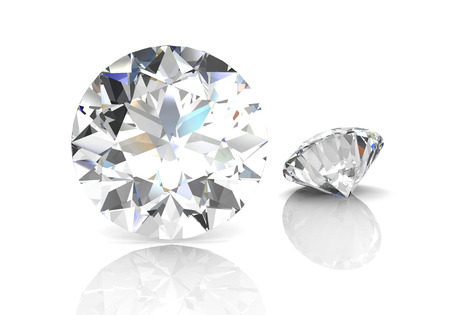 diamond on white background (high resolution 3D image) 스톡 콘텐츠