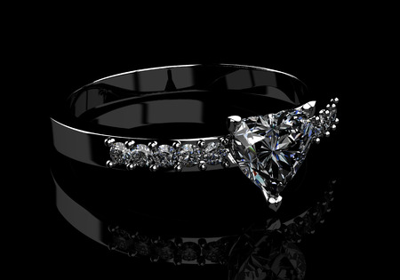 diamond ring on  black  background with high quality photo