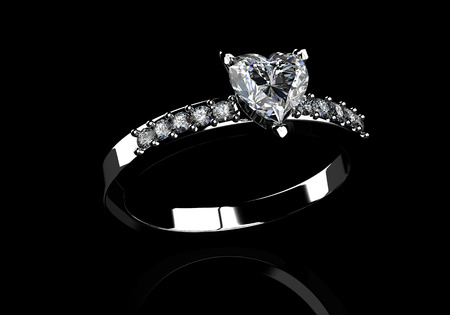 stetting: diamond ring on  black  background with high quality