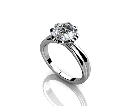 diamond ring on white background with high quality photo