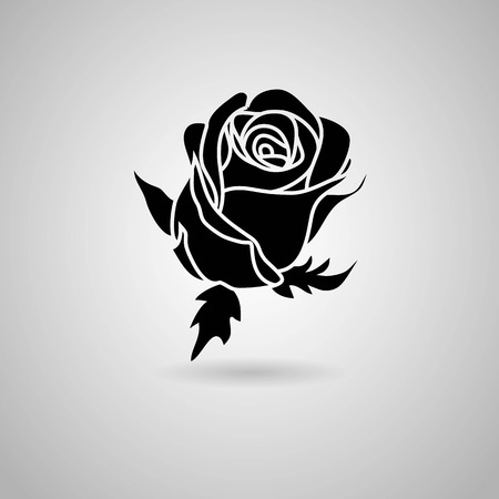outlines: rose  Vector illustration