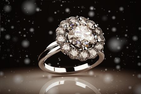 Gold wedding ring on background ( Vintage Style) Standard-Bild