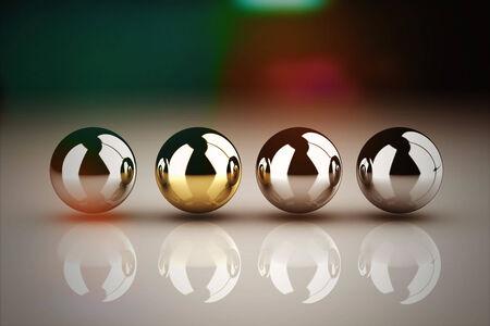 liderazgo: Concepto de liderazgo con la esfera dorada y muchas esferas de cromo  Foto de archivo