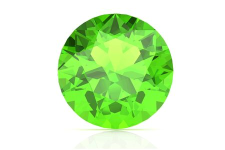 emerald stone: Peridot on white background .Vector illustration.