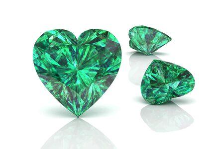 stetting: Emerald gem on white background.Vector illustration.
