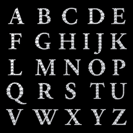 alphabet silhouette: Diamond alphabet, letters from A to Z,