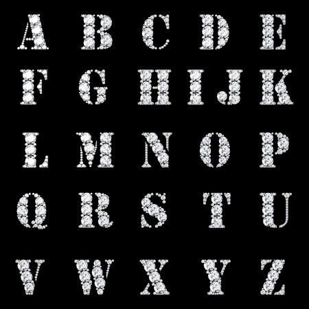 tipos de letras: Diamante alfabeto, las letras de la A a la Z, Foto de archivo