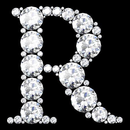"""다이아몬드 세트 멋진 아름다운 """"R"""" 스톡 콘텐츠 - 38760682"""