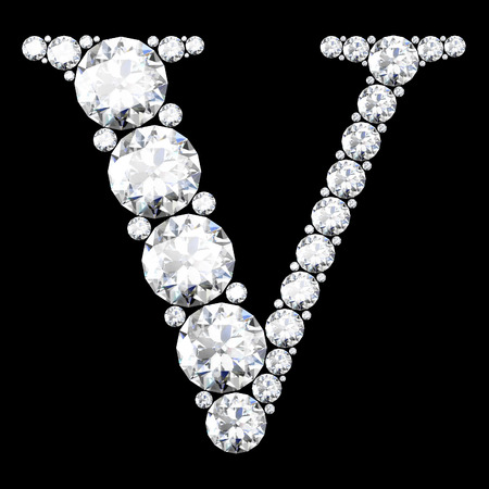 diamond letter: A stunning beautiful V set in diamonds Illustration
