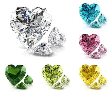 色の宝石 (高解像度 3 D 画像) のセット