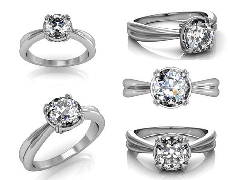 Set Van Wedding Ring met Diamond. Mode-sieraden achtergrond