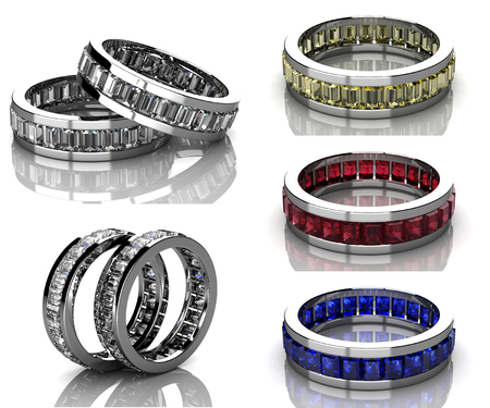sapphire gemstone: Set of rings. Best wedding and engagement ring Stock Photo