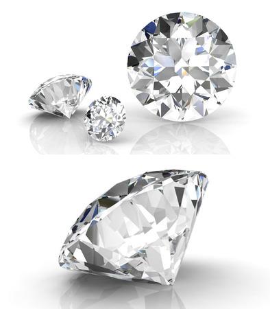 diamante: conjunto de diamantes (alta resolución de imágenes en 3D) Foto de archivo