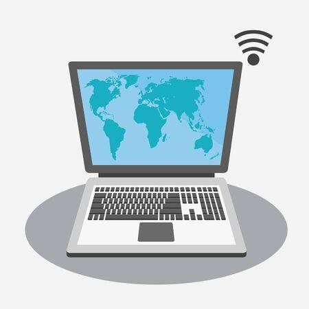 灰色背景: 灰色の背景に画面上の世界地図とノート パソコン 写真素材