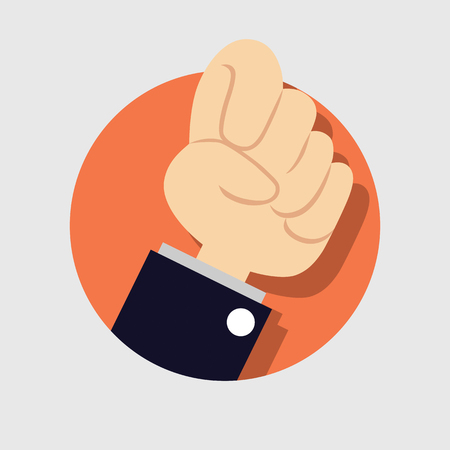 clenched: Riot protest fist raised in the air. Male clenched fist on orange background. Stock Photo