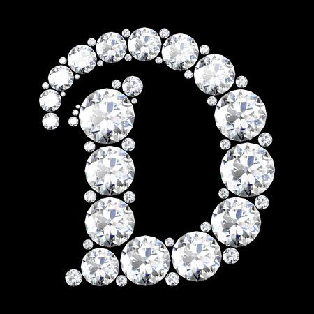 見事な美しい D はダイヤモンドの設定  イラスト・ベクター素材