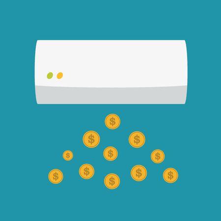 air conditioner: air conditioner and dollar Illustration
