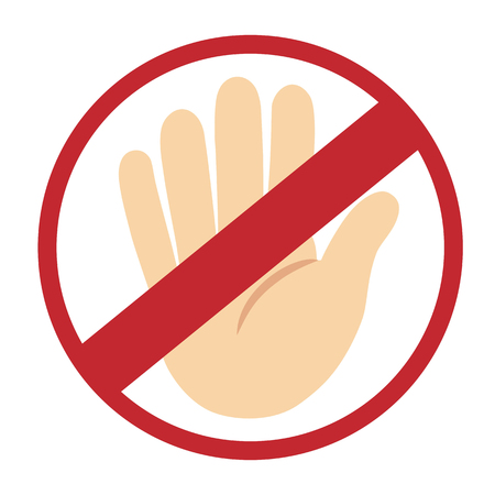 hand sign: No entry hand sign on white background