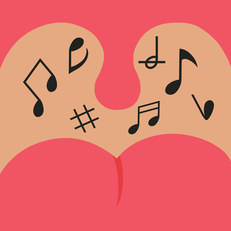 getting out: musical notes getting out of mouth