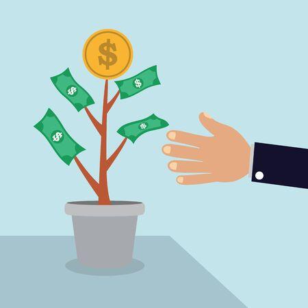 economic botany: Money tree with mans hand