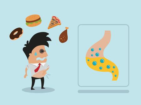 Man met buikpijn na fastfood Stock Illustratie