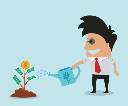 money cash: El hombre crece el �rbol del dinero Vectores